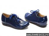 Pantofi piele copii perforati 533 blu-lac