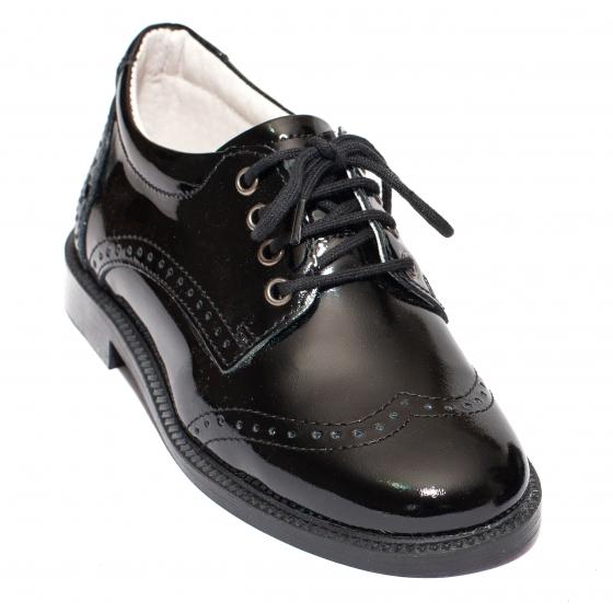 Pantofi copii scoala piele leofex 102 negru lac brodat 26-37