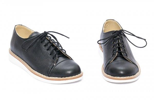 Pantofi copii scoala piele naturala 1384 negru box 26-36