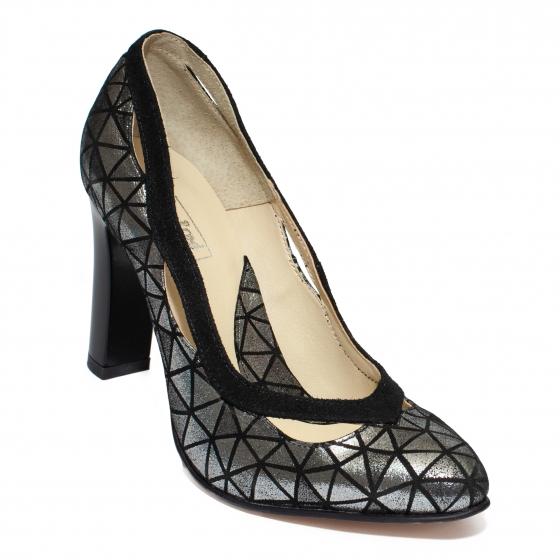 Pantofi cu toc dama 040.6 negru arg 33-40