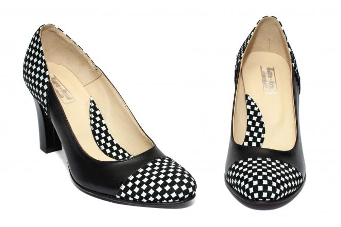 Pantofi cu toc dama 952 negru sah alb 33-40