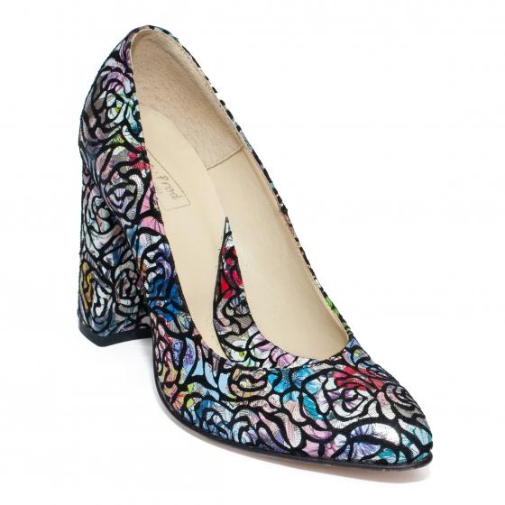 Pantofi cu toc gros dama 040 print color 34-40