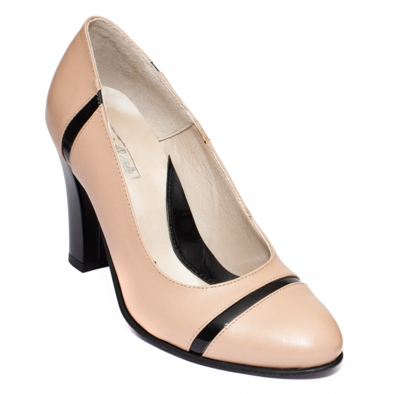 Pantofi dama cu toc 952 bej negru 33-40