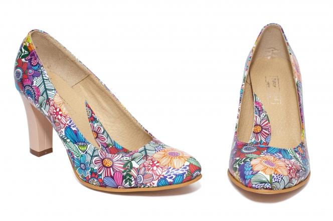 Pantofi dama cu toc comod 952 flori 33-40