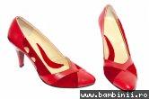 Pantofi dama cu toc din piele 612 rosu 35-40