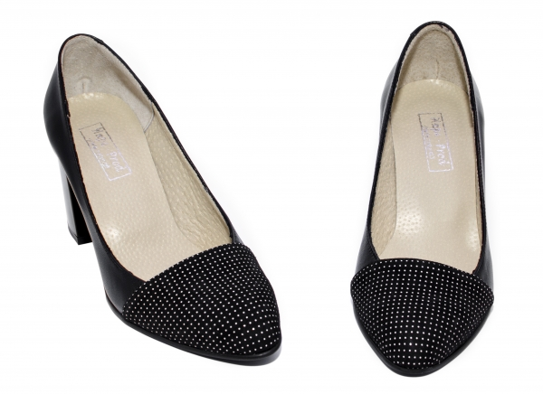 Pantofi dama cu toc gros 544 negru pipit 34-40