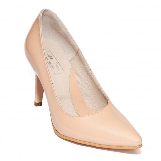 Pantofi dama cu toc stileto 004 nude lac 33-41