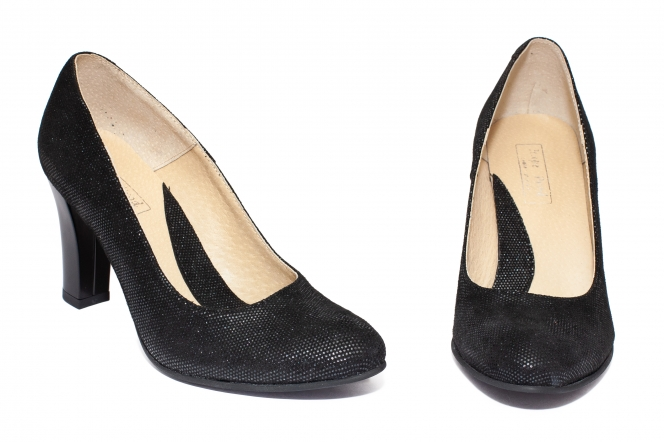 Pantofi dama piele cu toc 952 negru elegant 33-41