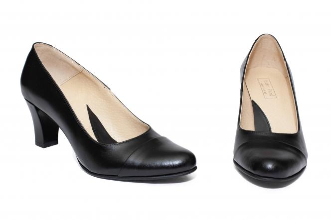 Pantofi dama piele cu toc mic 827 negru box 34-41