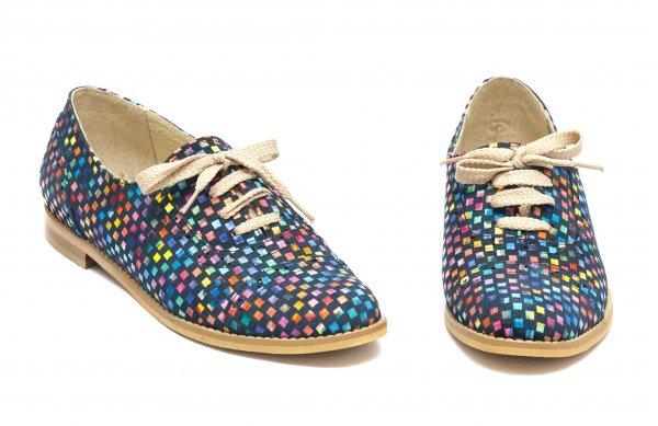 Pantofi dama piele naturala 026s1 sah multicolor 34-41