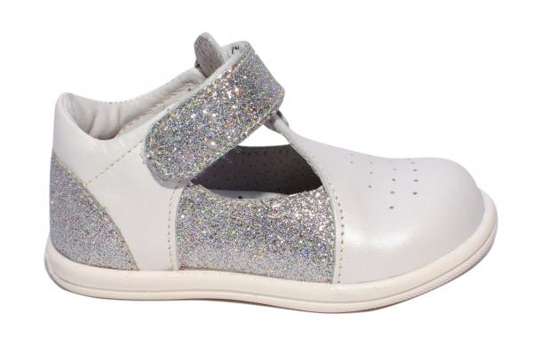 Pantofi decupati fete pj shoes Pablo alb arg 18-26
