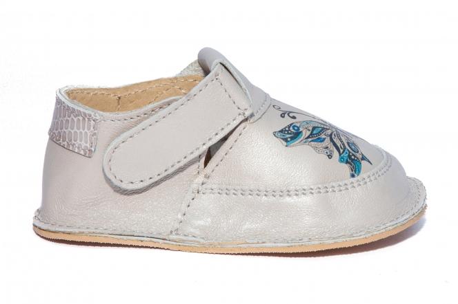 Pantofi fete cu talpa foarte flexibila Woc 008 gri fluture 18-25
