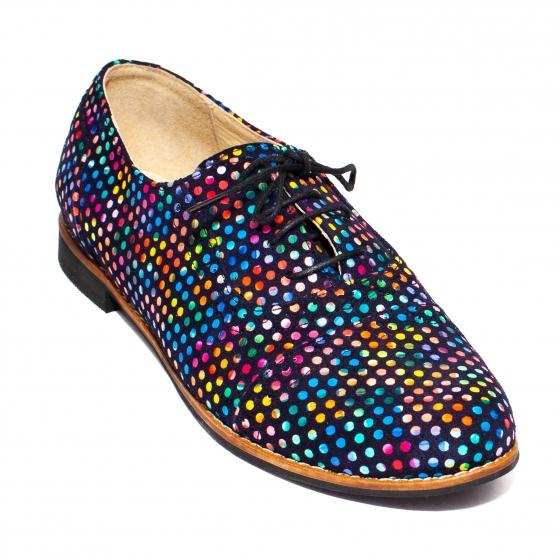 Pantofi fete din piele 026s1 sah buline 34-41