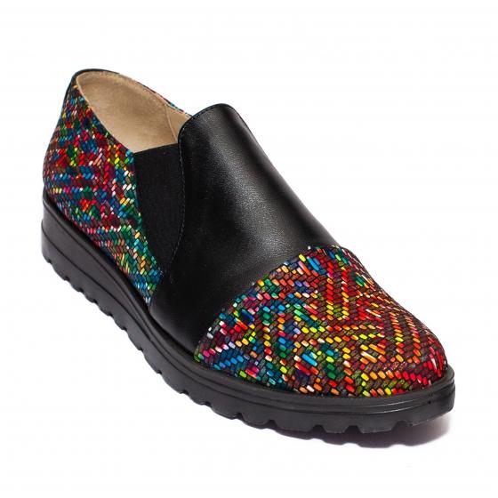 Pantofi fete din piele DC5 negru pipit color 34-41