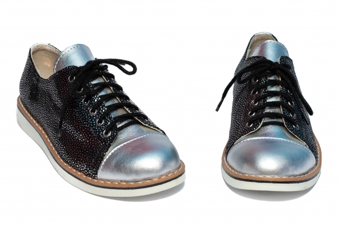 Pantofi fete din piele naturala 1384 argintiu negru lux 26-36