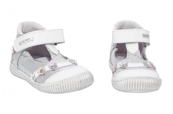 Pantofi fete inalt pe glezna hokide 403 alb argintiu 18-24