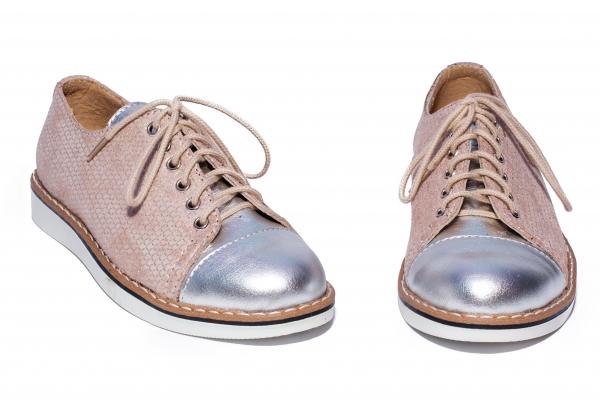 Pantofi fete piele 1384 bej arg 26-36