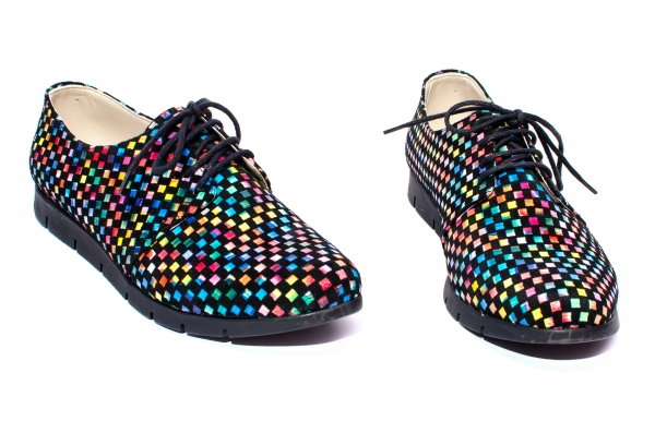 Pantofi fete piele naturala 026s2 negru sah 34-40