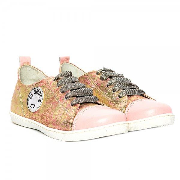 Pantofi fete piele naturala pj shoes Tag roz print 27-36