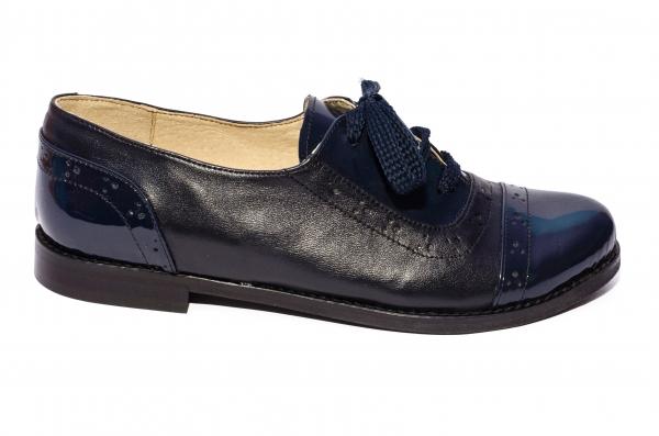Pantofi fete scoala piele naturala 026s1 blu lac 34-41