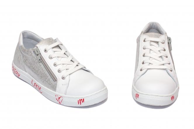 Pantofi fete sport hokide 400 alb arg print 26-37