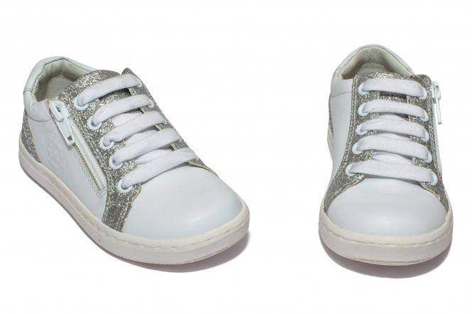 Pantofi fete sport hokide 400 alb gliter 20-37