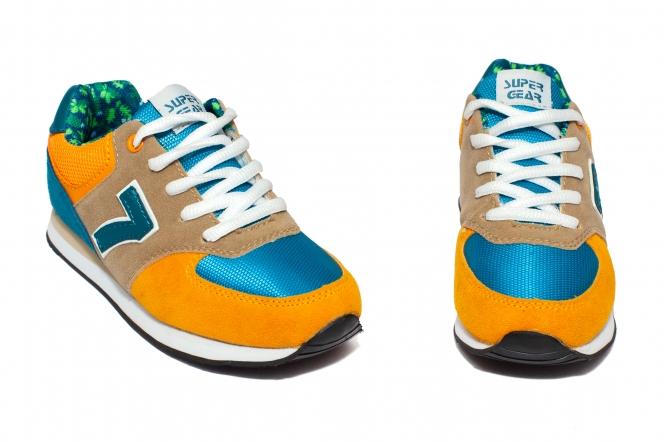 Pantofi sport copii 687 mustar gri albastru 31-35