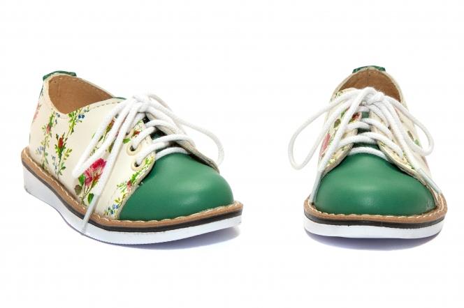 Pantofiori fetite piele DM 1399 alb verde flori 19-25