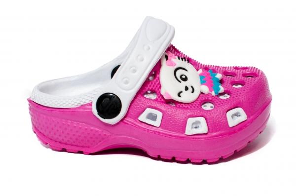 Papuci fete cauciuc crocs 1008 fuxia alb 18-29