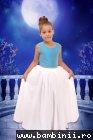 Rochie fete elaganta bust din satin bleu si fusta din voal alb 2500