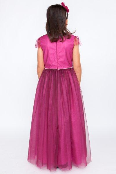 Rochii printese fete hey Princess 241.02 burgundy cu perle 3luni-12ani