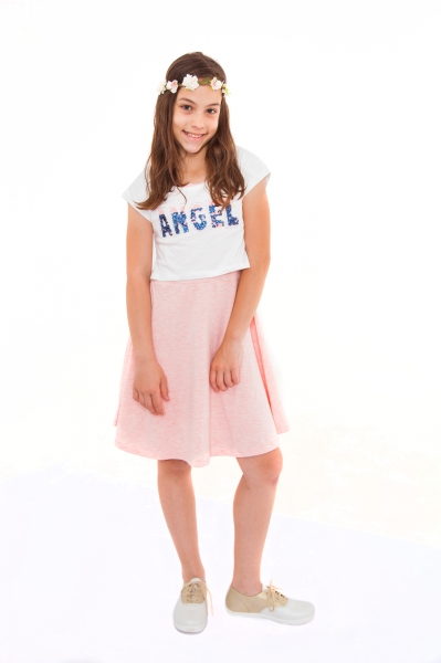 Rochita cu bloero fete 2600 roz alb 128-164cm
