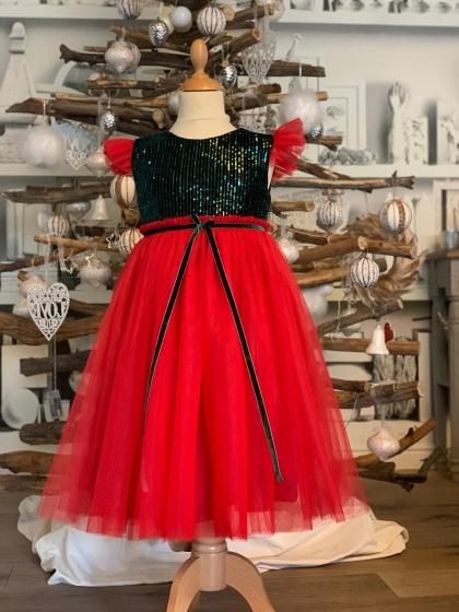 Rochite fete Hey Princess Christmas B112 rosu verde 3luni-12ani