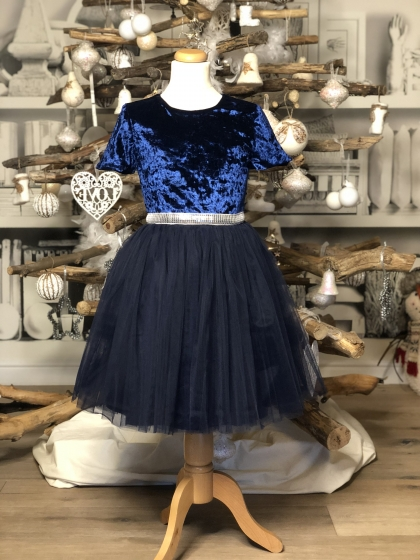 Rochite fete hey princess Christmas Blue Velvet 3luni-12ani