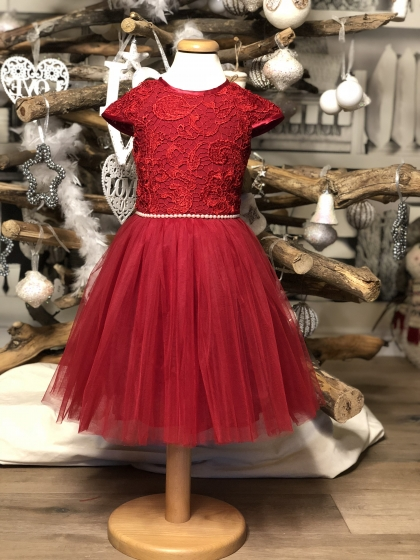 Rochite fete hey princess Christmas lace red 3luni-12ani