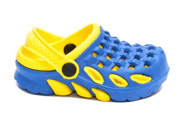 Saboti crocs copii 1033 albastru galben 18-35