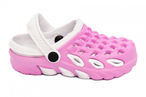Saboti crocsi fete 1033 roz alb 18-35