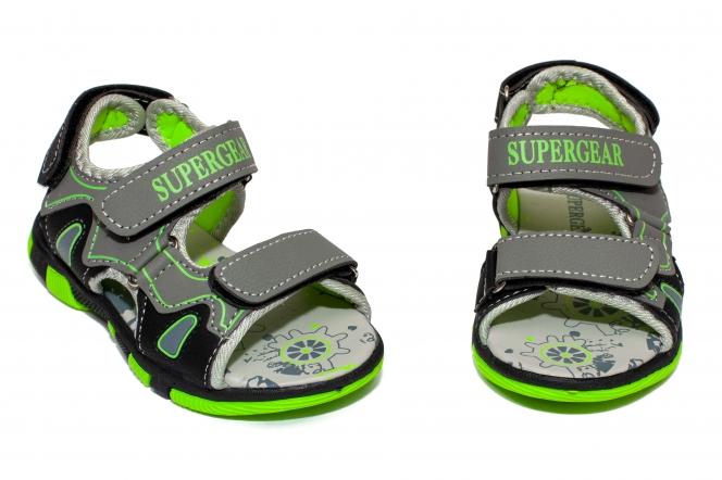 Sandale baieti cu brant din piele 1298 gri negru 25-30