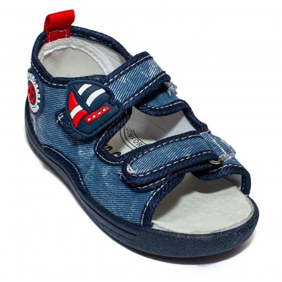 Sandale baieti flexibile cu brant din piele 1430 blue 20-25