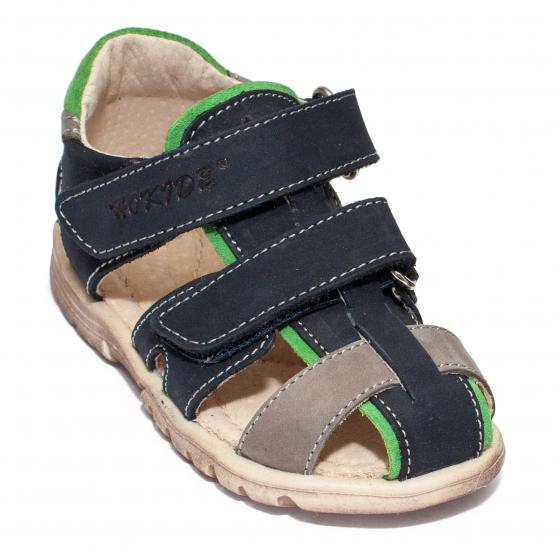 Sandale baieti picior lat hokide 357 albastru galben 22-32