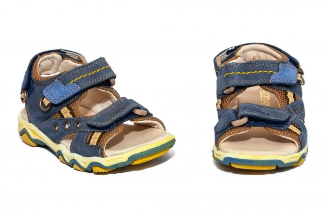 Sandale baieti piele Szamos 6285 blu galben 26-35