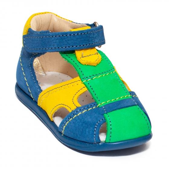 Sandale baieti avus din piele 803 blu gri 17-26