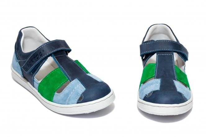 Sandale baieti piele hokide 422 blu verde albastru 26-35