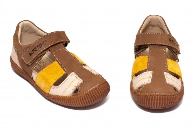 Sandale copii hokide 422 maro bej mustar 26-35