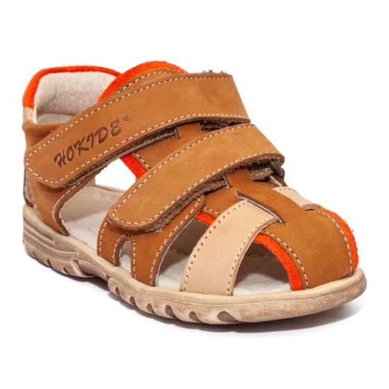 Sandale copii picior lat hokide 357 maro bej port 22-32