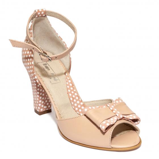 Sandale dama cu toc 952 bej roz buline 33-40