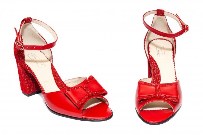 Sandale dama cu toc 544 rosu pipit 34-40
