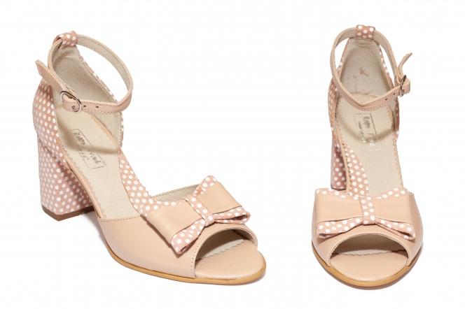 Sandale dama cu toc gros din piele 544 bej roz 34-40
