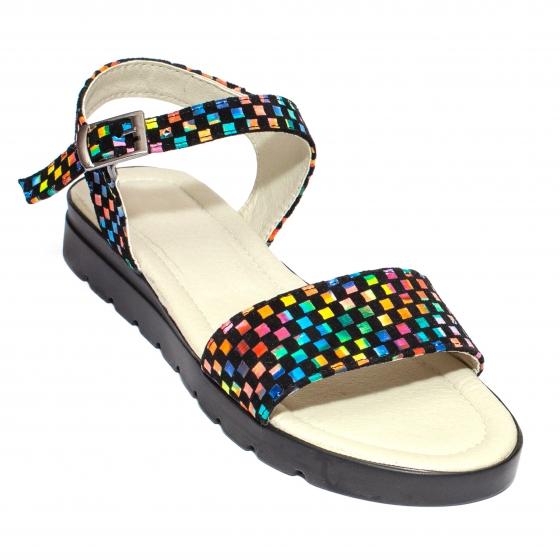 Sandale dama piele naturala 222 negru sah TN 35-41
