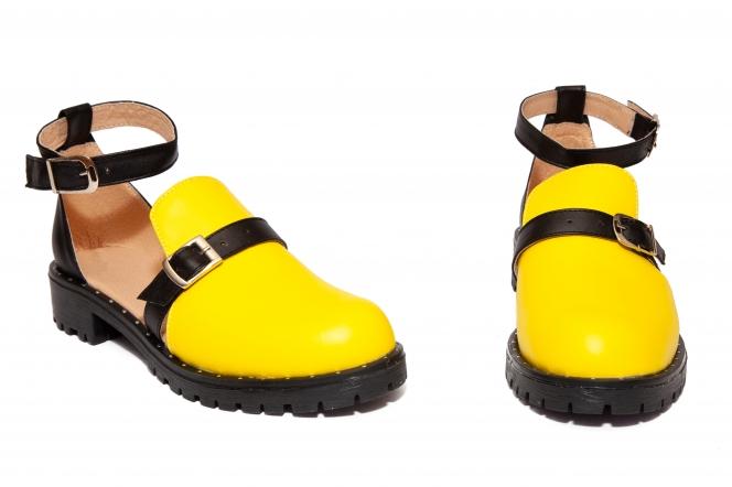 Sandale domnisoare din piele Cika galben 34-41